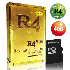 Carte R4i Gold pour DSi + Kingston Micro SDHC 4Go