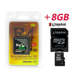 Carte R4i Gold 3DS + Kingston Micro SDHC 8Go